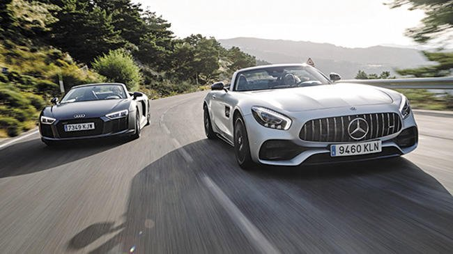 Audi R8 Spyder 5.2 V10 plus vs Mercedes-AMG GT C Roadster